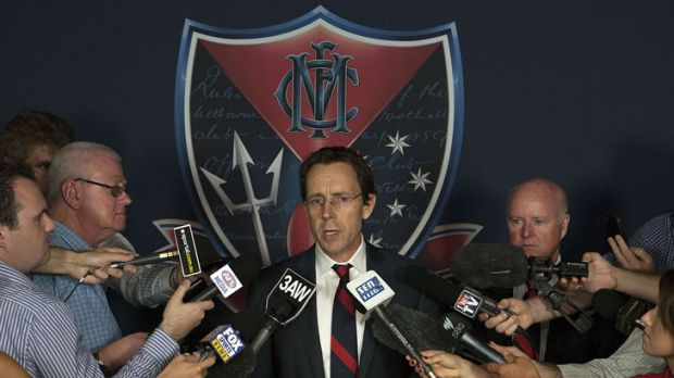 Melbourne Football Club CEO Cameron Schwab front the media at the MCG.