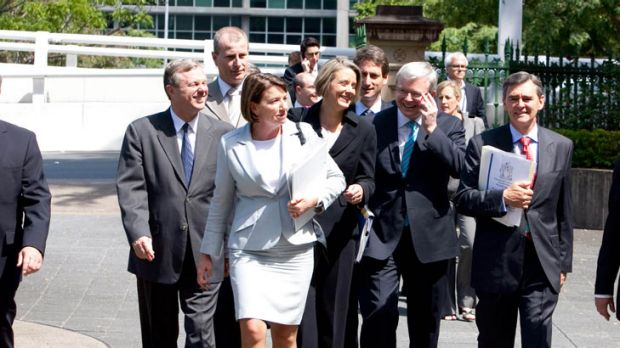 The way they were: (from left) Mike Rann, Anna Bligh, Kristina Keneally, Kevin Rudd and John Brumby.