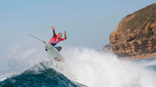Kelly Slater at the Rip Curl Pro at Bells Beach yesterday.