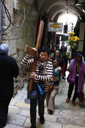 Way of the Cross … pilgrims from the Philippines on the Via Dolorosa, where Christ is said to have carried His ...