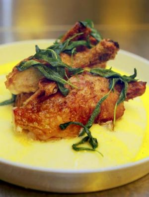 Roast farm chook with polenta and sage butter.