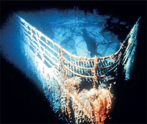 Four thousand metres down: the bow of the Titanic at rest in the North Atlantic.