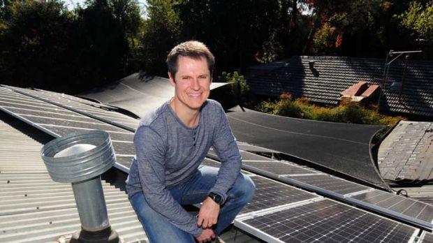 Dubbo Mayor Matthew Dickerson with his solar panels.