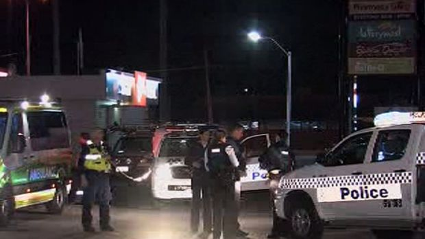 The scene of the hit and run, in which two policemen were injured.       <i>Photo: Channel Ten</i>