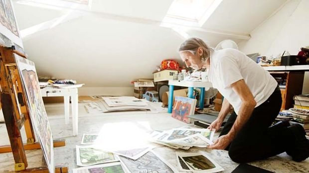 Mental images ... an attic studio provides space for Reg Mombassa's mementoes as well as the creation of his colourful ...