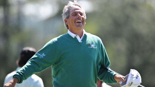 Loving it: Fred Couples is thrilled on  taking a share of the lead after the second round of the US Masters at Augusta.