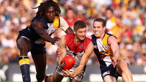 Surrounded: Melbourne's Ricky Petterd tries to handball as he's tackled by Eagles Nic Naitanui (left) and Ashton Hams ...