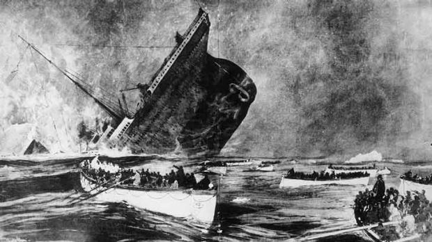 Sinking ... survivors watch from lifeboats as the Titanic goes to its watery grave on April 14, 1912.