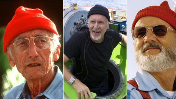 Beanies ahoy ... French sea explorer and documentary-maker Jacques Cousteau, James Cameron and Bill Murray from The Life ...