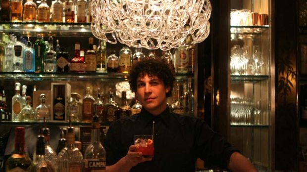 Anton Forte of Shady Pines Saloon in Darlinghurst holds a bloodorange Negroni.