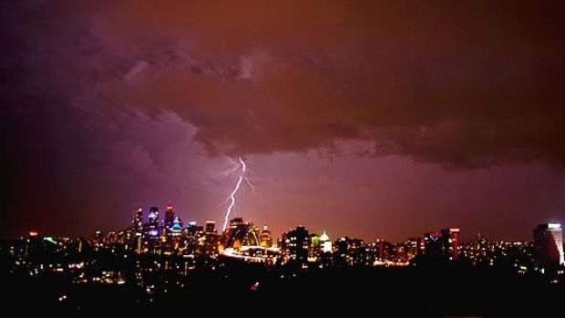 Lightning in Sydney ... reader Edward Johnstone took this photo in Neutral Bay.