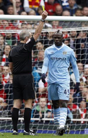 Mario Balotelli warned at Arsenal.