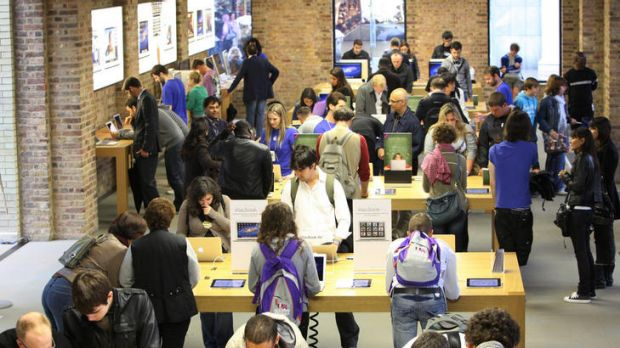 Customers browsing in Apple's Covent Garden store in London.