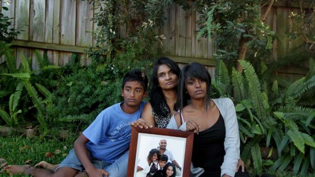 Worried family … from left, Aman Somaratna, 12, Champa Somaratna and Ama Somaratna, 18.