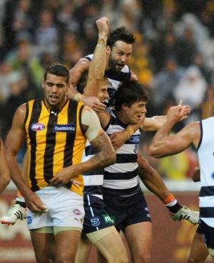 AFL Round 2.Geelong v Hawthorn. at the MCG.Geelong celebrate after the siren, beating Hawthorn. 9th April 2012.Picture ...