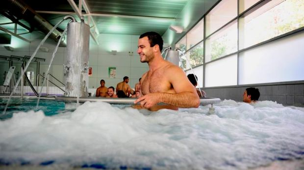Raiders player David Shillington during Raiders recovery session at the AIS recovery centre.