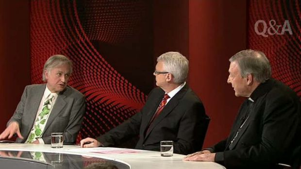 Clashing ideologies … Tony Jones, centre, plays the referee to Richard Dawkins, left, and Cardinal George Pell on ...