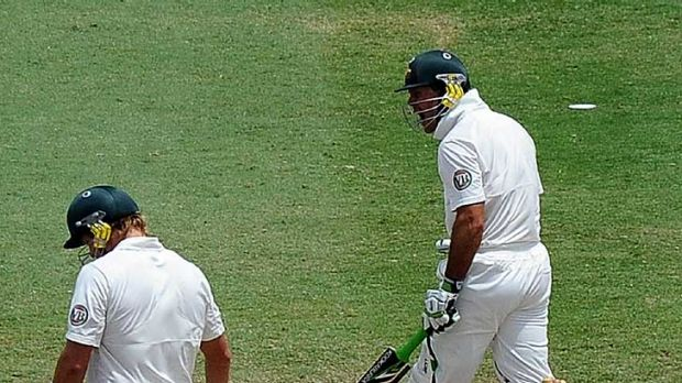 Not happy ... Ricky Ponting reacts angrily after being run out following a mix up with Shane Watson.
