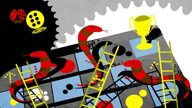 Snakes and ladders ... the informed investor is less likely to make a misstep. <em>Illustration: Karl Hilzinger</em>