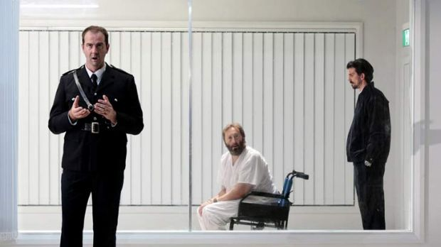 From left, Paul Goodwin-Groen, Anthony Hunt and Patrick George in Sydney Chamber Opera's production of the Philip Glass ...