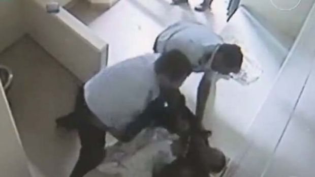 Lashing out … a still from footage of the incident.