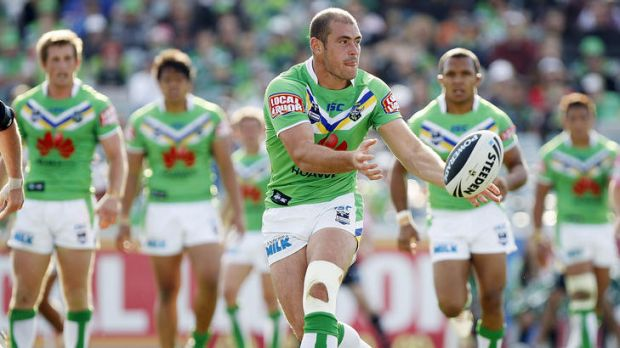 Terry Campese of the Raiders passes the ball during the round six NRL match between the Canberra Raiders and the New ...