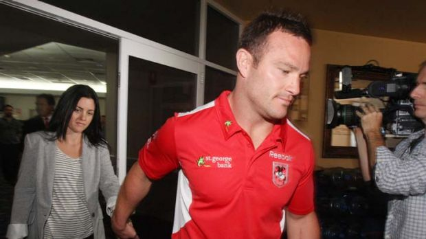 Out the door … Dean Young leaves the Steelers Club in Wollongong with his wife Brooke yesterday. The 28-year-old ...