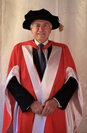 Former Prime Minister John Howard recieving an Honorary Doctorate at Macquarie University yesterday.