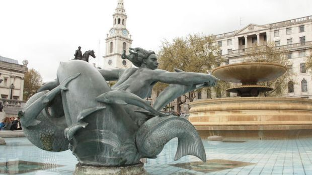 A water fountain in Trafalgar Square has been turned off due to drought restrictions which have been in force since ...