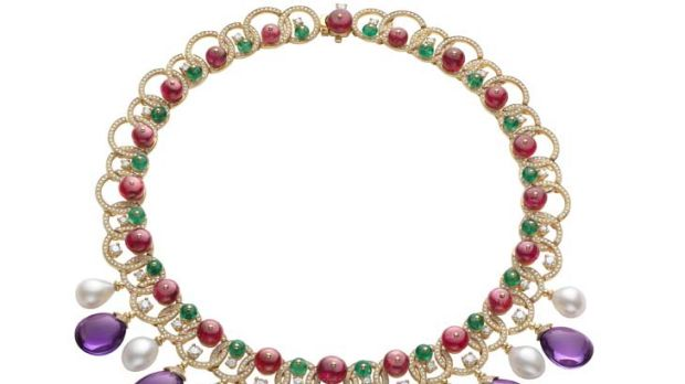 Precious ... pearl, amethyst, emerald and spinel necklace by Bulgari.