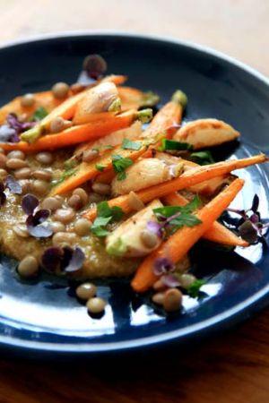 Lentil, carrot and turnip salad with hazelnut sauce.