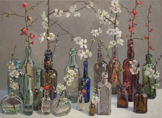 'Japonica' ... a painting from Lucy Culliton's new show 'Bibbenluke Flowers'.