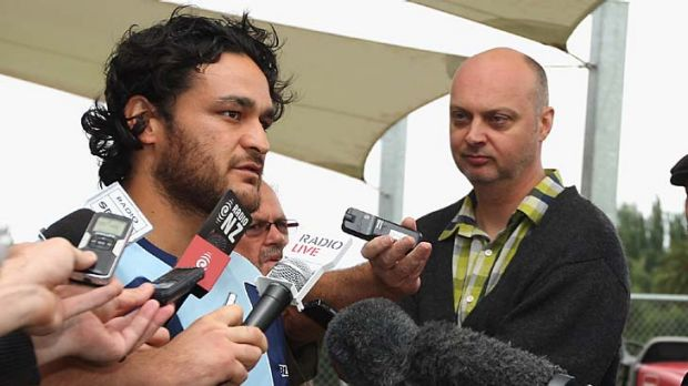 Piri Weepu of the Blues talks to media in Auckland on Wednesday.