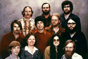 Original geeks ... A 1978 file photo made available by Microsoft shows the 11 people who started Microsoft. Bill Gates, ...