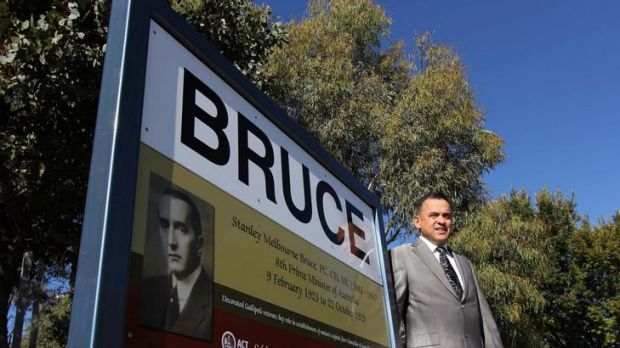 Chris Bourke reveals the first of 16 new suburb signs created to honour of Australia's past Prime Ministers, after whom ...