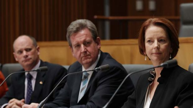 Question time ... the Queensland and NSW premiers, Campbell Newman and Barry O'Farrell, and the Prime Minister, Julia ...