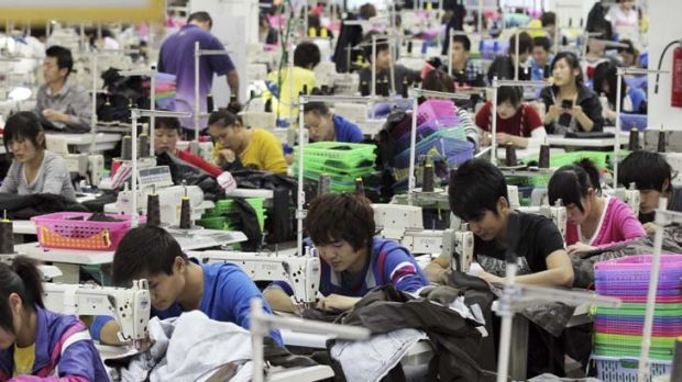 No labour shortage ... Chinese workers at a factory in Jinjiang, in southeast China.