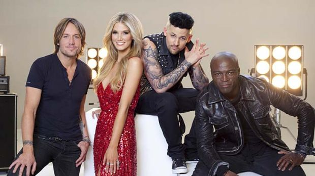 Ratings hit ... from left, <em>The Voice's</em> Keith Urban, Delta Goodrem, Joel Madden and Seal.