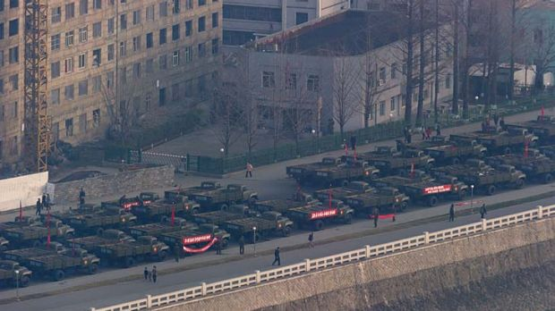 Trucks line up on a Pyongyang street prior to celebrations in memory of North Korea's first leader Kim Il-sung.