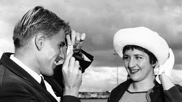 Murray Rose with Dawn Fraser before the 1962 Commonwealth Games in Perth.