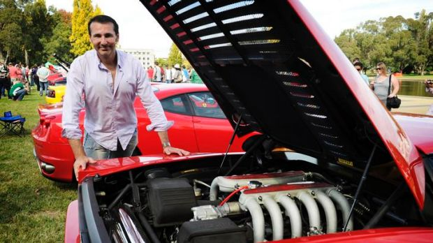 Mark McEwen with his Ferrari 512 TR at Italian Car Day on the lawns of Old Parliament House.