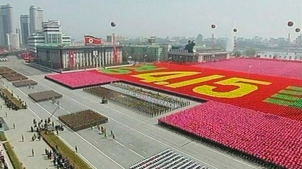 The crowd forms yesterday's date, April 15, during a military parade in Pyongyang.