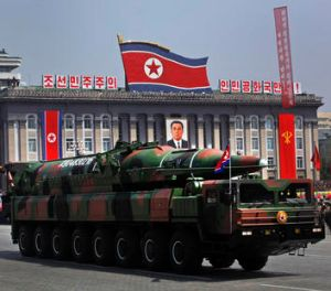 The military parade featured the unveiling of a new missile.