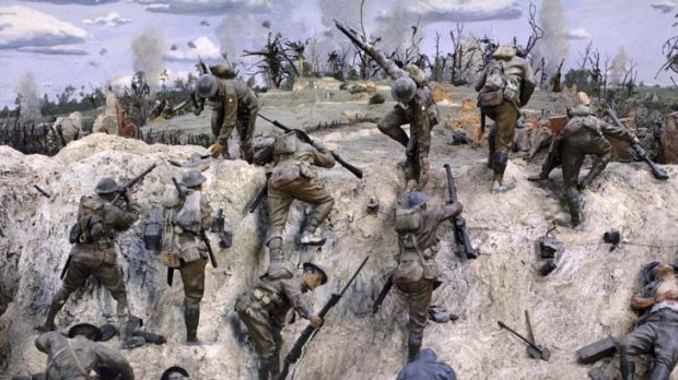 One of the War Memorial's WWI dioramas, this one depicting the Australian Corp fighting at Mont St Quentin in 1918.