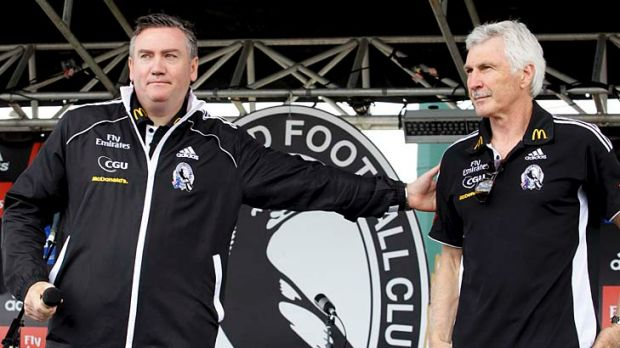 Collingwood President Eddie McGuire thanks outgoing coach Mick Malthouse the day after Collingwood was defeated in the ...