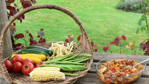 Produce and ratatouille from the garden of Anne Charles, Nimmatabel.