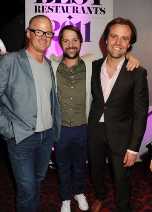 Brett Graham (right) with fellow chefs Heston Blumenthal and Rene Redzepi.