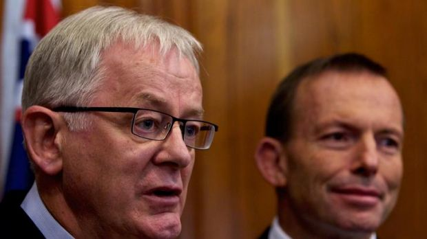 Opposition leader Tony Abbott, right, would not endorse Andrew Robb's comments.