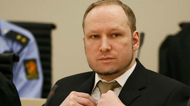 """""""Marxist hunter"""" ... defendant Anders Behring Breivik faces the court."""