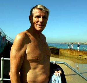 Competed in masters events and ocean swims ... swimmer Murray Rose at north Bondi in 2008.